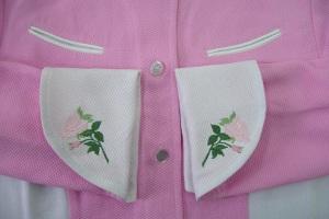 closeup of embroidered rose cuffs
