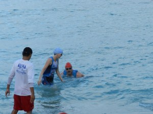 Rob and I finally leave the swim portion.  He deliberately let me out before him, so he would technically be last.