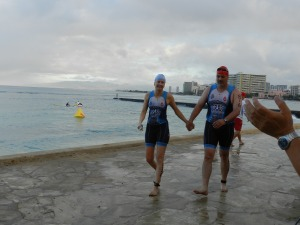 This photo was shared with numerous followers who knew how worried I was to survivie the swim.