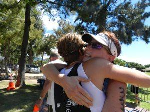 Tracy and I share a hug